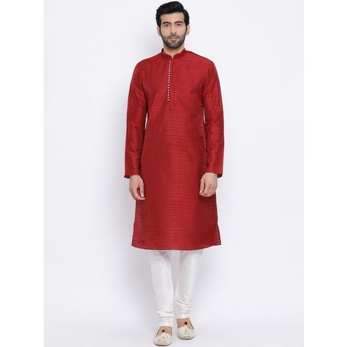 Namaskar Men Solid Straight Kurta(Red)