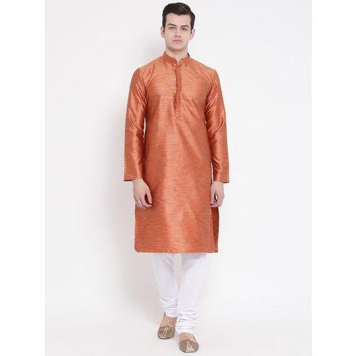 Namaskar Men Solid Straight Kurta(Orange)