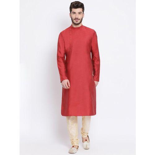 Namaskar Men's Solid Straight Kurta(Red)
