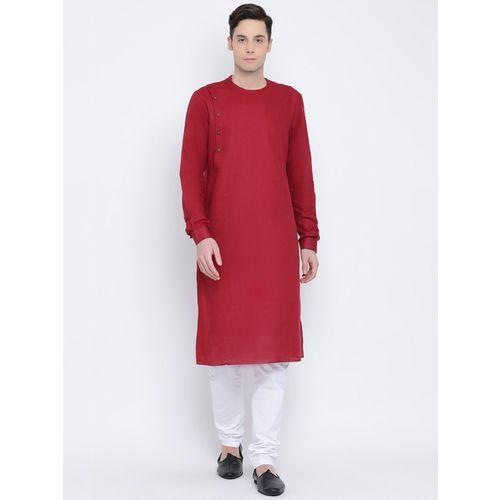Namaskar Men Solid Straight Kurta(Red)