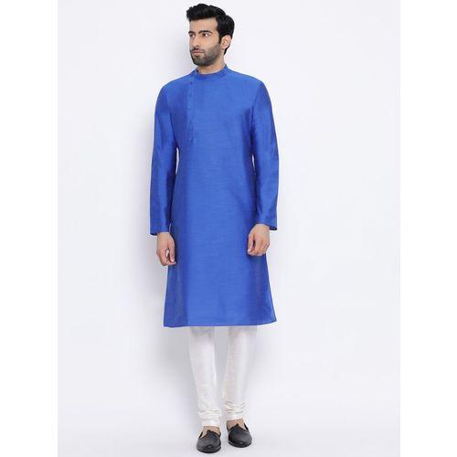 Namaskar Men Solid Straight Kurta(Blue)