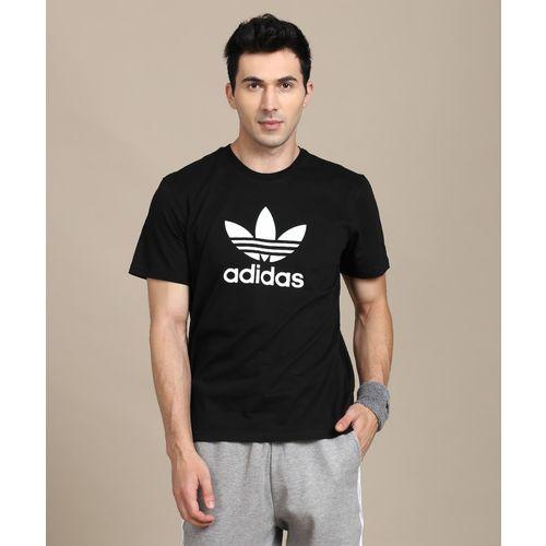 ADIDAS Printed Men Round or Crew Black, White T-Shirt