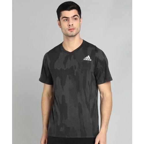 ADIDAS Printed Men Round Neck Grey T-Shirt