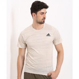 ADIDAS Self Design Men Round Neck Beige T-Shirt