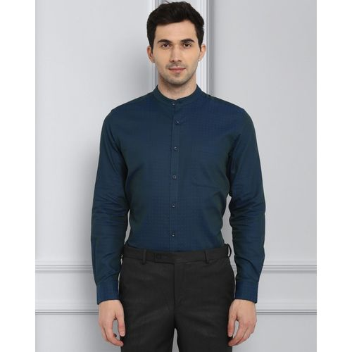 Raymond Men Self Design Casual Dark Blue Shirt