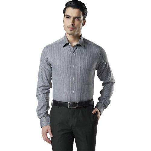 Raymond Men Striped Casual Grey Shirt