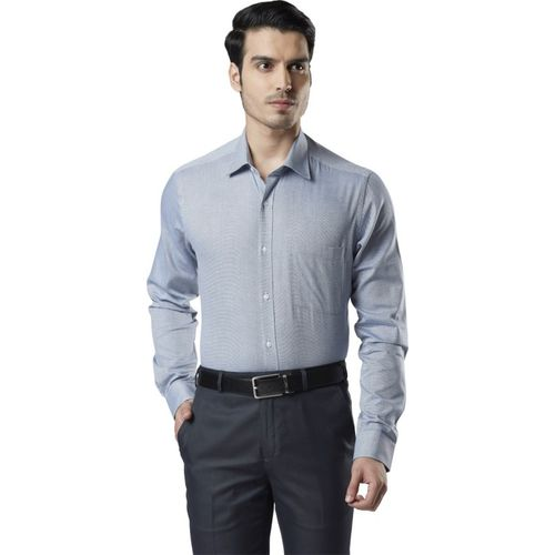 Raymond Men Solid Casual Blue Shirt