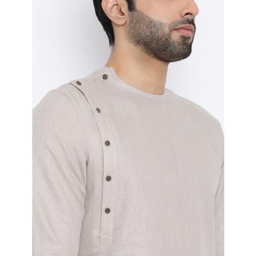 NAMASKAR Men Silver-Toned Solid Silk Straight Kurta
