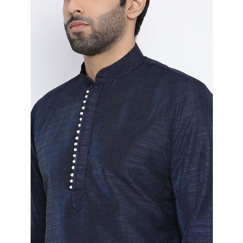 NAMASKAR Men Navy Blue Solid Silk Straight Kurta