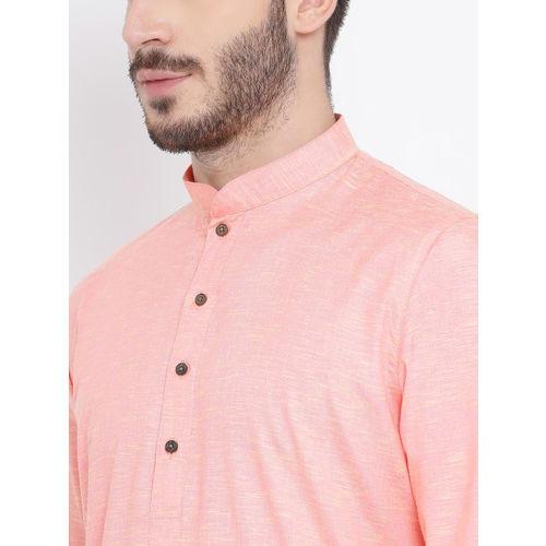 NAMASKAR Men Pink Solid Straight Kurta