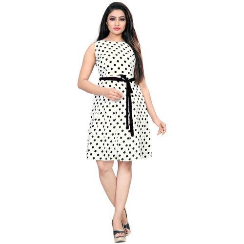 DSK STUDIO White Polka Print Fit and Flare Dress