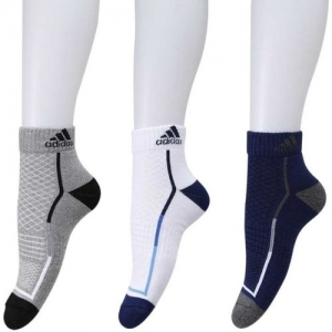 ADIDAS Multicolour Cotton Solid Ankle Length Socks (Pack of 3)