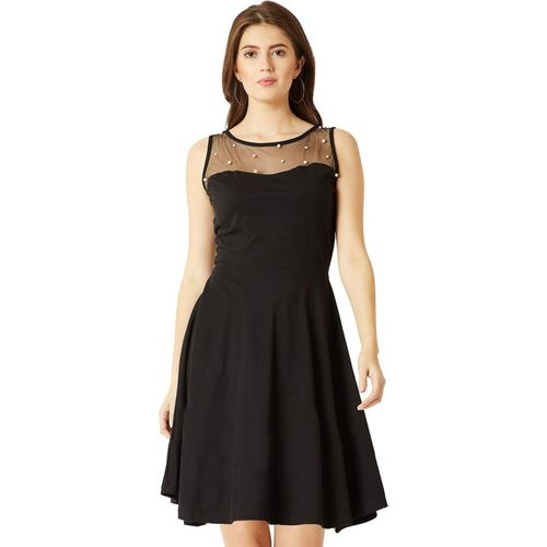 Miss Chase Women Fit and Flare Black Dress