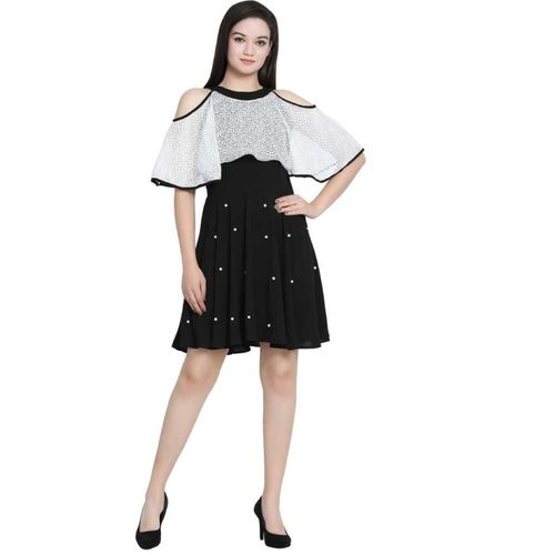 KEEVA Women Fit and Flare White, Black Dress