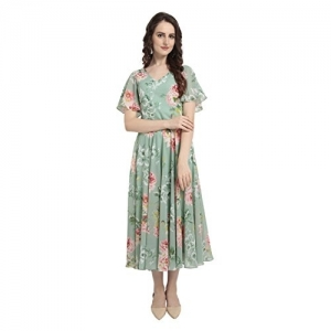 RARE Green Synthetic A-line Floral Printed Flared Dress
