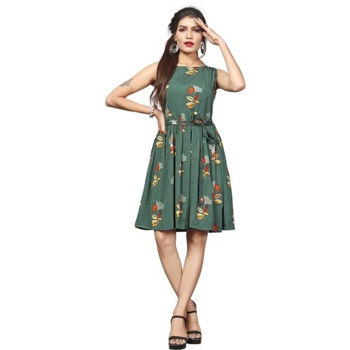 DSK Studio Women Fit and Flare Green Dress