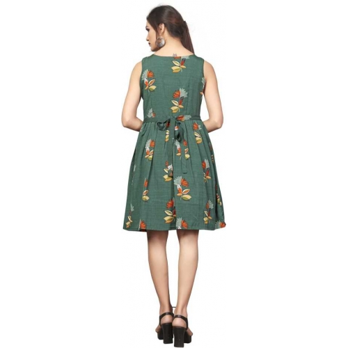 DSK Studio Green Printed Fit and Flare Dress