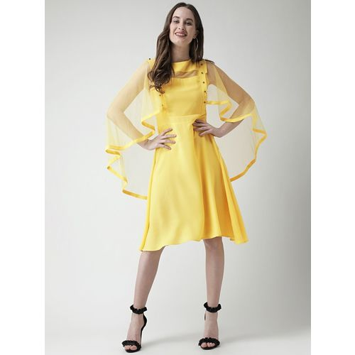 KASSUALLY Yellow Fit and Flare Dress