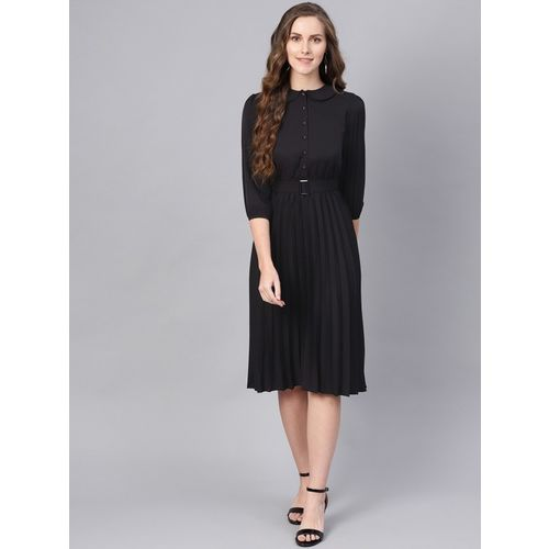 Sassafras Women Fit and Flare Black Dress
