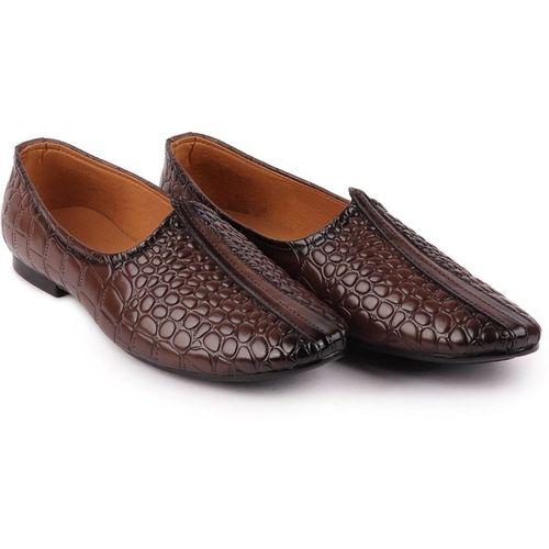 FAUSTO Party Wear Mojaris For Men(Brown)