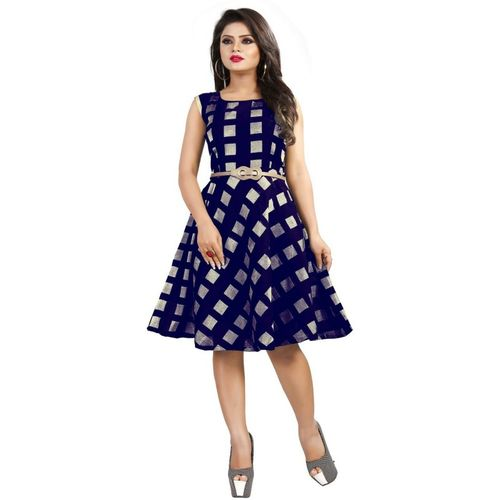 DM MART Women Fit and Flare Blue Dress