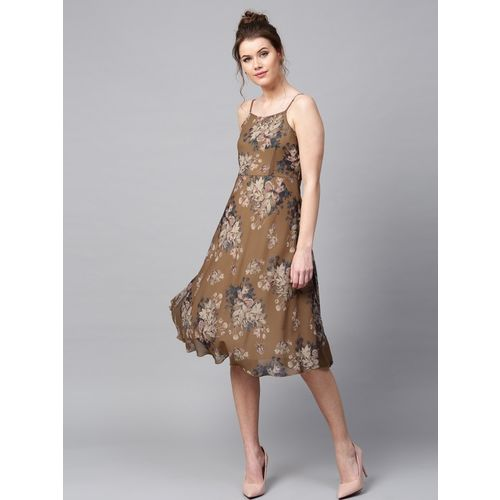 Sassafras Women Fit and Flare Brown, Beige Dress