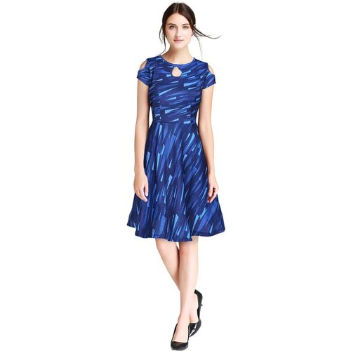 Kkanchi Overseas Women Fit and Flare Blue Dress
