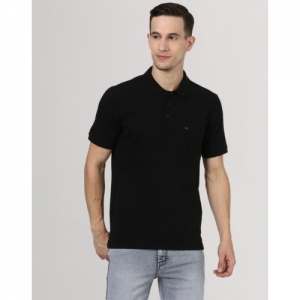 Monte Carlo Black Cotton Solid Slim Fit Causal T-Shirts