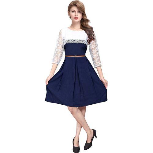 Kkanchi Overseas Women Fit and Flare Blue Dress
