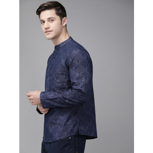 Anouk Men Navy Blue Printed Straight Kurta