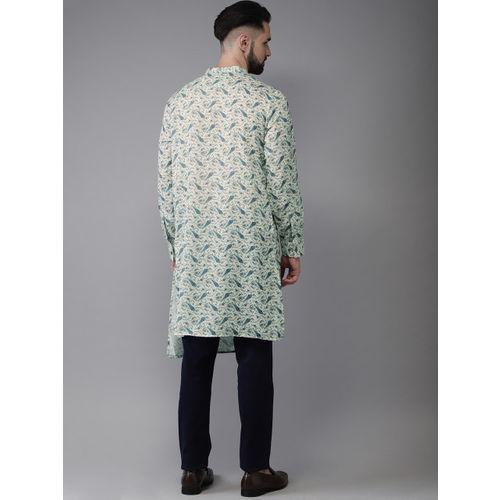 Anouk Men Sea Green & Blue Printed Fusion Straight Kurta