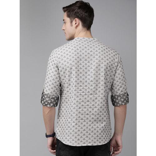 Anouk Men Grey & Black Woven Design Straight Kurta