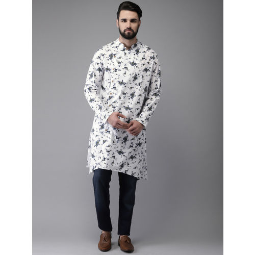 Anouk Men White & Blue Printed Straight Kurta