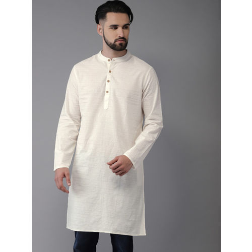 Anouk Men Off-White Solid Straight Kurta