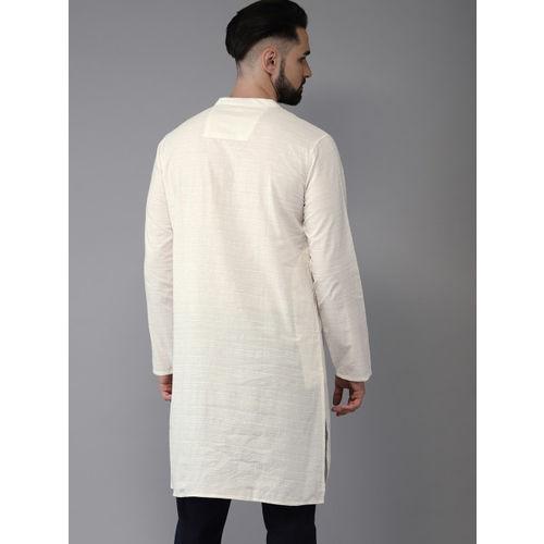 Anouk Men Off-White Solid Straight Kurta