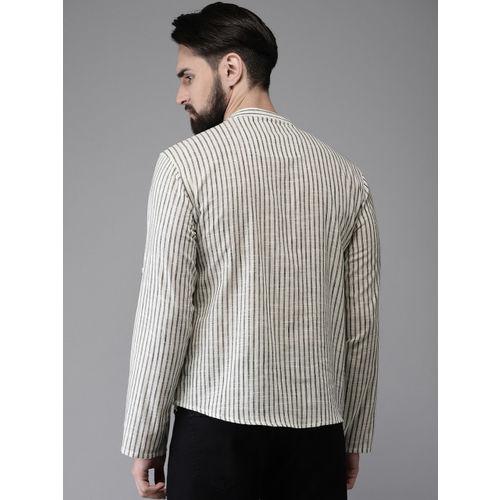 Anouk Men Off-White & Black Striped Straight Short Kurta