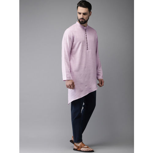 Anouk Men Purple Solid Straight Kurta