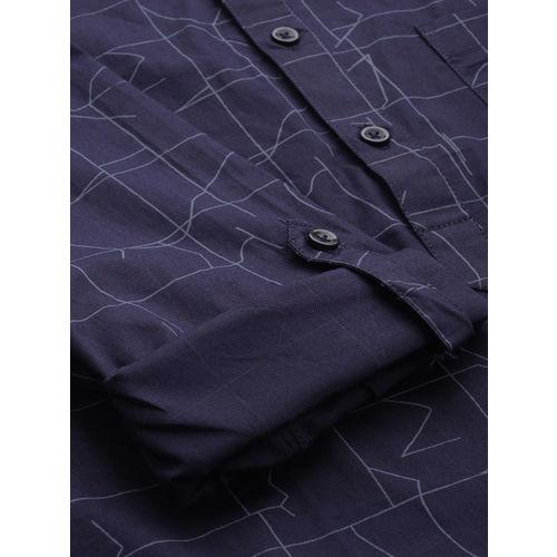Anouk Men Navy Blue Printed Straight Short Kurta