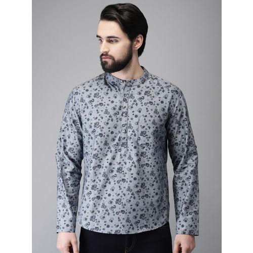 Anouk Men Grey & Navy Blue Printed Straight Short Kurta