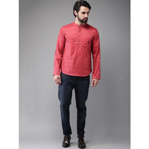 Anouk Men Red Printed Straight Kurta