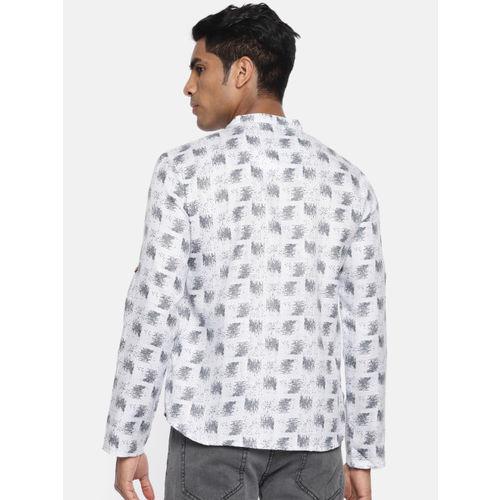 Anouk Men White & Grey Printed Straight Kurta