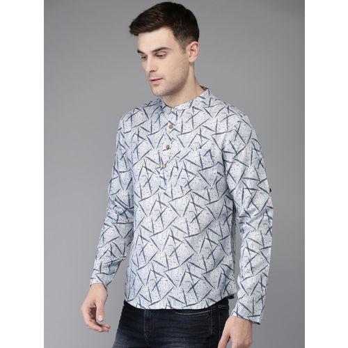 Anouk Men Grey & Navy Blue Printed Straight Kurta
