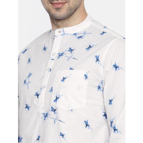 Anouk Men White & Blue Printed Straight Kurta