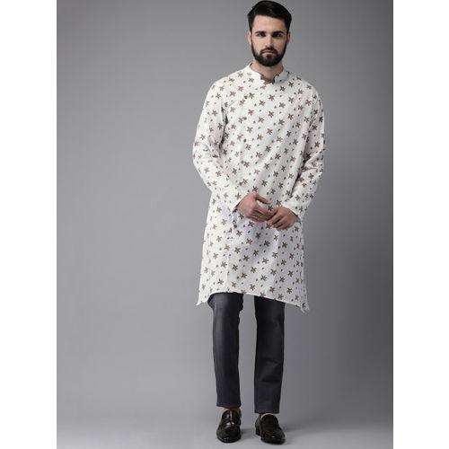Anouk Men White & Beige Printed Straight Kurta