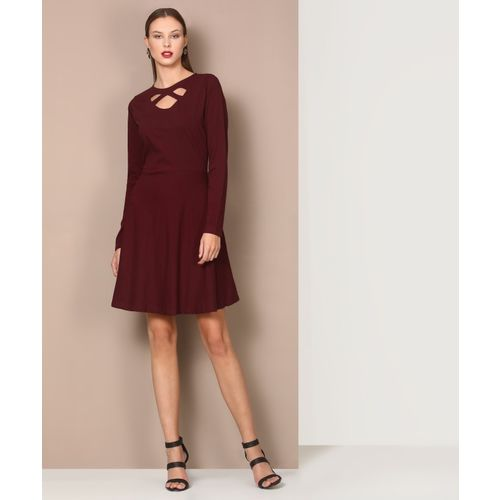 Avirate Women Fit and Flare Maroon Dress