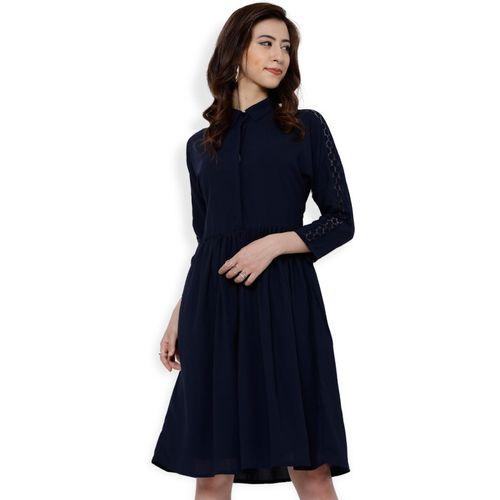 Tokyo Talkies Women Fit and Flare Dark Blue Dress