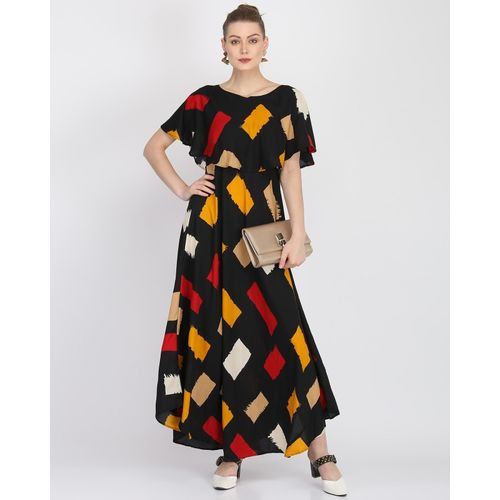 Kannan Black Crepe Flared Maxi Dress