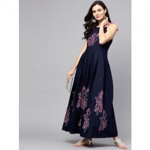 Aks Women Maxi Dark Blue Dress