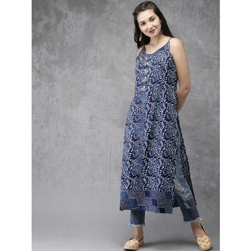Anouk Women Printed Straight Kurta(Blue)