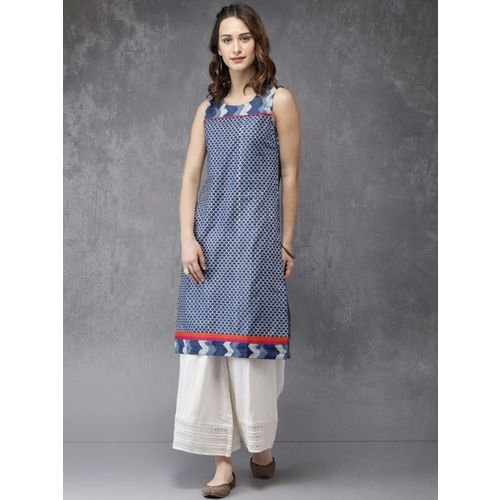 Anouk Women Printed Straight Kurta(Blue, White)